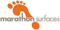 marathon surfaces logo showing their name in grey text over an orange footprint