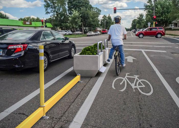 DezignLine delineated bike lane using BikeRail