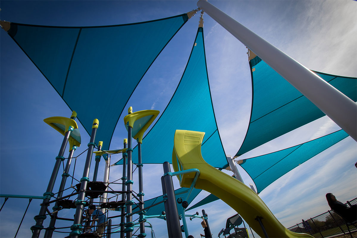 Skyways Shade structure with playground
