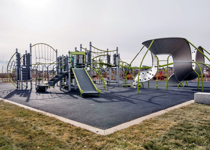Carrington Greenway play space with roller slide