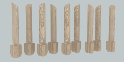 wooden poles for playing on
