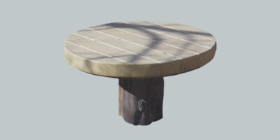 outdoor wooden round table