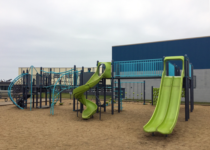 Riverstone play structure with slides