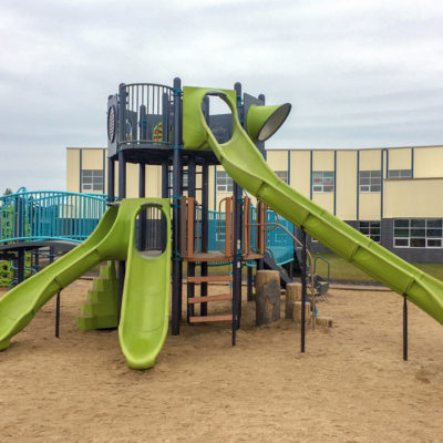 Riverstone Playground with tower structure and slides