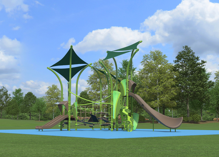Treetop Playground structure with integrated shade