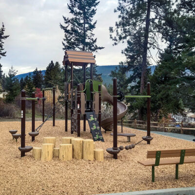 playground with wood accents and logs