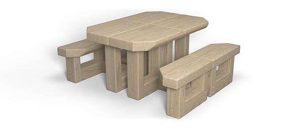 outdoor desks arranged into picnic table