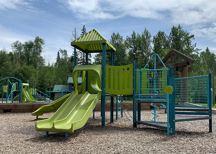 green and blue playground on wood surfacing