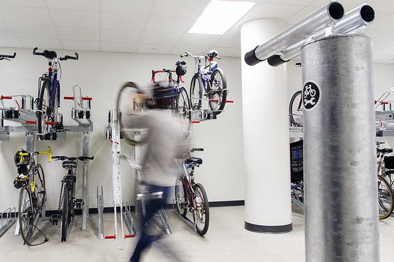 bike room with two tier bike racks