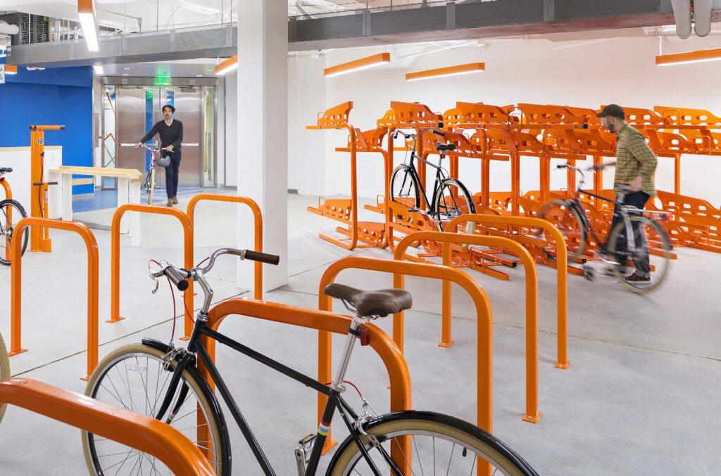 bike parking with orange bike racks