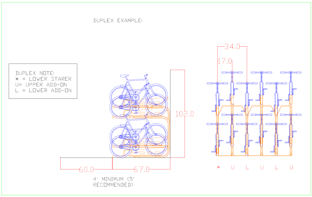 2D drawing of two tier bike parking