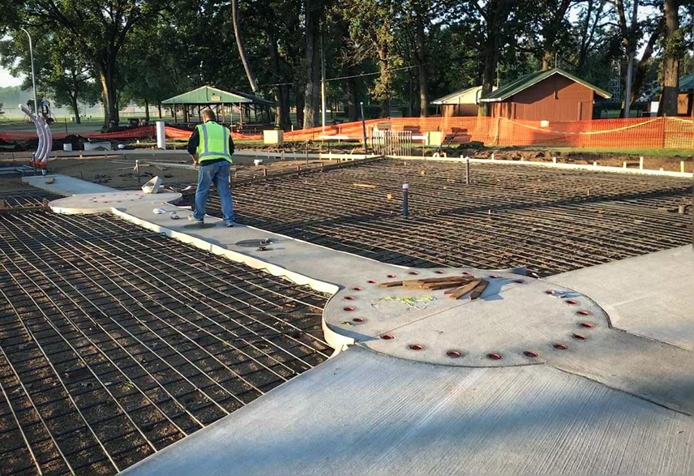 the concrete pad before water components are installed