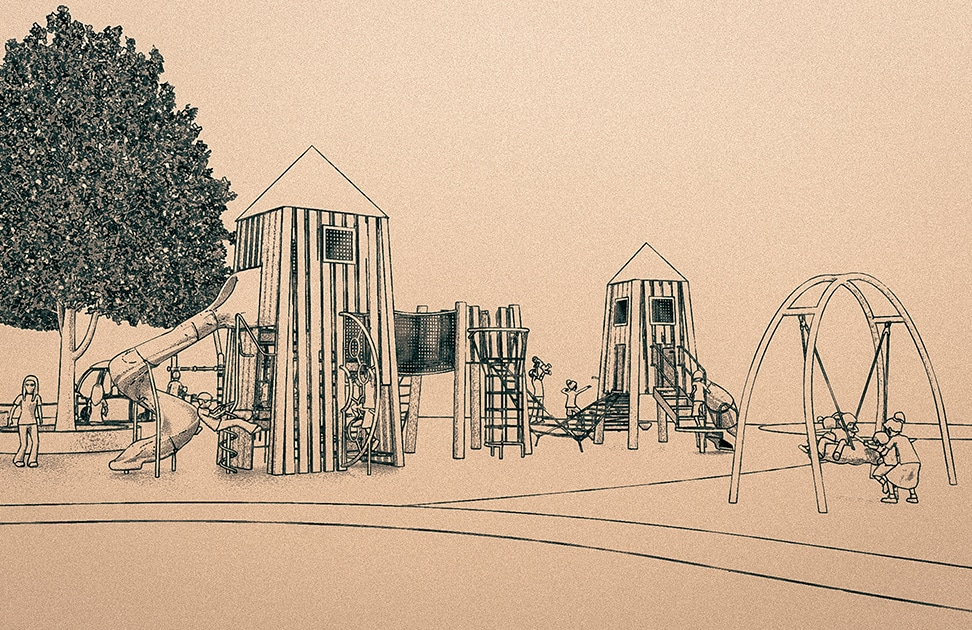 pencil sketch of playground design towers