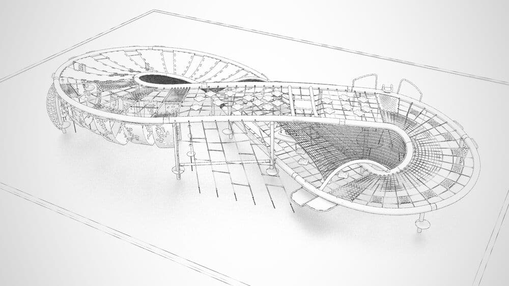 Quantus net structure playground design pencil drawing