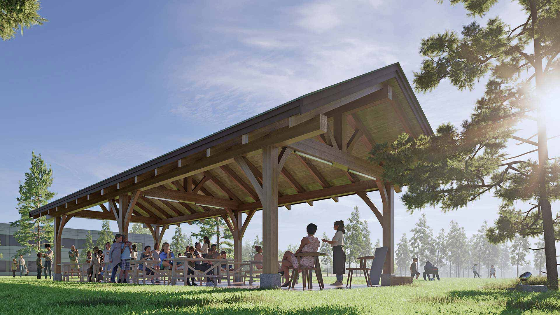rendering of an outdoor wooden shelter