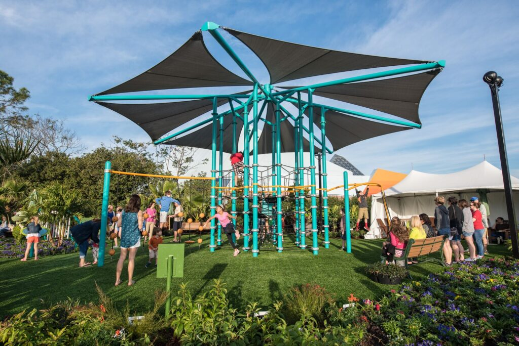 Colourful Playground on Artificial Turf for playgrounds