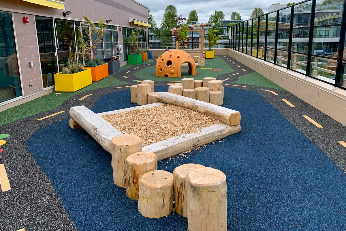 Rooftop Playground With Wood Features