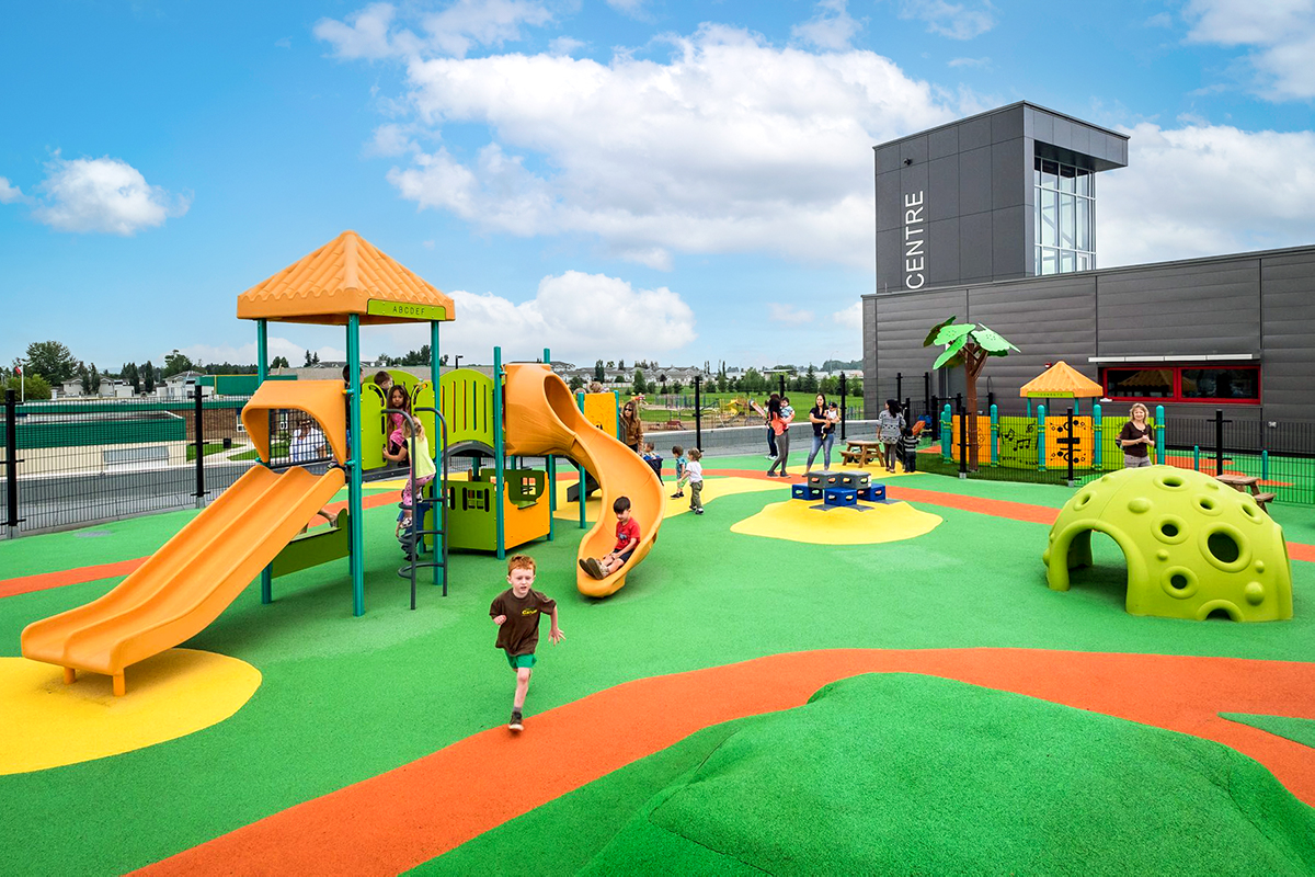 Colourful Rooftop Playground With PIP Rubber